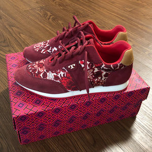 Tory Burch Burgundy Floral Sneakers Size 7.5